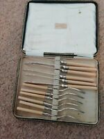 AntiqueFish Knives Forks,original boxEPNS Silver ferrules John Cockburn Richmond