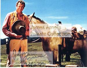 James Arness Gunsmoke Marshal Dillon Jim with Horse  Signed 8 x 10