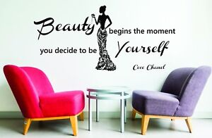 Coco Chanel Quote Beauty Begins The Moment Wall XXL Art Stickers Decals Vinyl