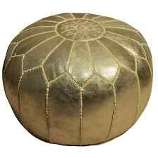 Pouf Oriental en cuir Tabouret travail manuel oreillers de sol Kora or d54cm