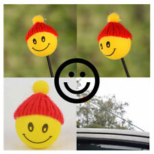 Car Yellow Happy Smiley ​Face W/ Wool Hat Antenna Pen Topper Decor Aerial Ball