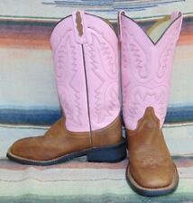 Womens Old West brown / Pink Leather Cowboy Boots 6.5 B Very Good Used Cond