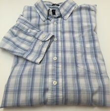 Gap Classic White/Blue Striped Button Down L/S Shirt Men's XL