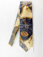 Brioni Mens Golf Themed 100% Silk Tie Made in Italy NOS Navy Gold Necktie New