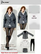 141 1/6 Clothing- DOLLSFIGURE Grey Secretary Suit Full Set for Female Body
