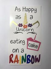 As Happy As A Unicorn eating Cake On A Rainbow Wine Bottle Vinyl Decal