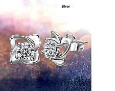 Women's 925 Sterling Silver Four Leaf Clover Flower Design Stud Earrings Gift UK