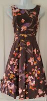 Womens H&M Taupe Grey Floral Box Pleat 40s 50s Vintage Style Dress 8/10 Vgc.