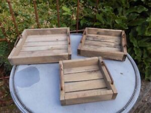 Rustikales Tablett-Set 3 Stück quadratisch Holz natur + Eisen Landhaus