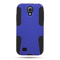 Hybrid Blue Black Mesh Dual Layer Skin Cover Case for Samsung GALAXY S4 i9500