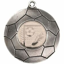 DOMED FOOTBALL MEDAL (1in CENTRE) - ANTIQUE SILVER 2in PACK OF TEN
