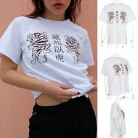 Chinese Characters Women Summer Short Sleeve Blouse Tops Loose Casual T Shirt