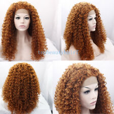 Medium Auburn Color Lace Front Wig Synthetic Hair Curly Wigs