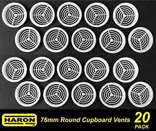 4 X 76mm Round Cupboard Vents White Plastic Circular - 68mm Cutout