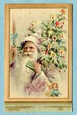 "HTL 87 Postcard Hold to Light  ""A Merry Christmas"" Santa ,Tree in Picture Frame"