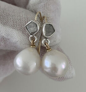 9ct Gold & Silver Rose Cut Diamond & Baroque Pearl Large Drop Dangling Earrings