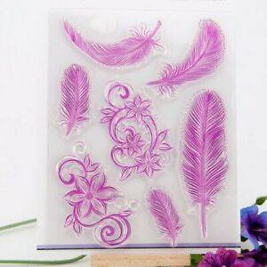 Feathers & Floral Silicone Clear Stamp Card Making Paper Craft Photo Album Stamp