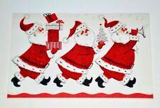UNUSED Santas, Gifts, Mini Tree, Horn, Flocking, Red Glitter Vtg. Christmas Card