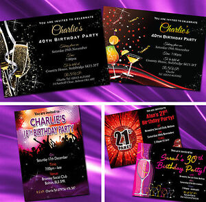 Personalised Birthday Party Invitations Invites 18th 21st 30th 40th 50th 60th