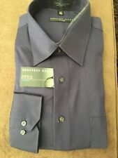 Geoffrey Beene Fitted Sateen Shirt Men's Fig Size 17.5 34/35 Wrinkle Free NWT