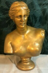 """Victorian 1800's Solid Bronze Lady Bust Statue 8"""" Heavy 12lbs"""