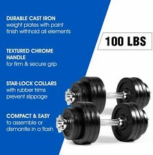 Brand New 100lb Adjustable Dumbbell Weight Set Cast Iron Gym Workout W Connector