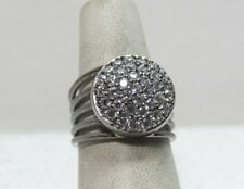 Italian Silver Sterling Pave' Crystal Multi-Row Ring Size 5 Rhodium