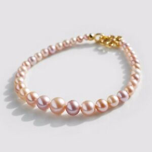 """Beautiful Multi-color Round 4-8MM FW Pearl Bracelet Sterling Silver Clasp,7.5"""""""