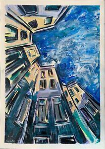 original painting A4 336VE art samovar acrylic cityscape Architecture Signed
