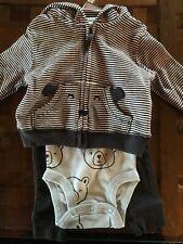 Carter's Baby Boys' 3 Piece Zip Up Hoodie Shirt Pants Set - Bear - Newborn - Nwt