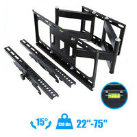 "Articulating Full Motion TV Wall Mount 15°Tilt 160°Swivel For 47""55""60""65""70""75"""