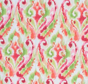 "56"" Wide Cotton Fabric Ikat Watercolor Pattern Lime Moss Green Hot Pink  IL9"