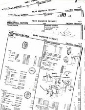 1960 1961 1962 1963 1964 1965-1968 FORD FALCON MECHANICAL PARTS NUMBERS SHEETS !