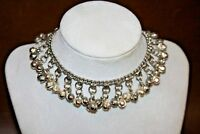 """Middle Eastern Style Vintage Silverplate 10"""" Belly Dancer Choker Necklace"""