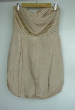 WITCHERY Corset dress Sz M, 12 Beige Evening Cocktail Event Linen mix Bubble hem