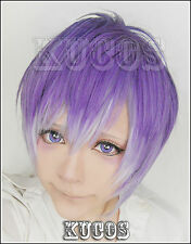Anime Diabolik Lovers Kanato Sakamaki Short Wig Mixed Purple Layered Cosplay Wig