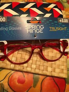 Spring Hinge Readers TRUSIGHT +3.00 RED with  a Shell Case