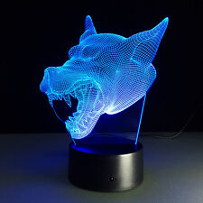 3D Anime Final Fantasy Wolf Night Light Acrylic LED Table Desk Lamp Art Decor