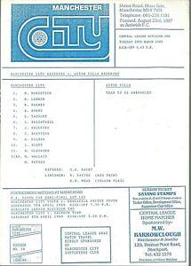 MANCHESTER CITY RESERVES v ASTON VILLA RESERVES 1988/89 SEASON MATCH PROGRAMME