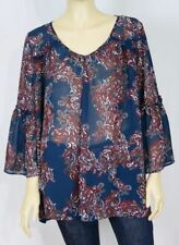 Polyester Paisley Tunic Machine Washable Tops & Blouses for Women