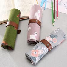 Girls Cute Canvas Printed Pencil Case Rolling Bandage Pen Bag School Stationery