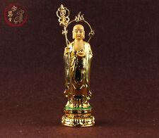 Ksitigarbha Bodhisattva Dizang Buddha Statue Chinese Colored Resin Gold Plating