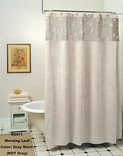 Morning Leaf Suede Fabric Shower Curtain Gray Morn New