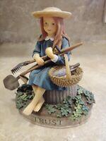 Vintage Virtues TRUST Kathy Killip Demdaco Girl Gardening Tools Spade Basket