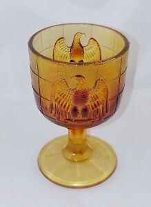 EAGLE WINE GOBLET WATER GLASS Boyd 1978-1983 NOS Flame Bronze Orange Ruby Red