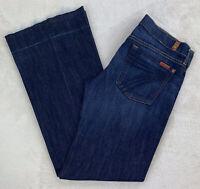 7 For All Mankind Dojo Jeans Flare Leg Low Rise Dark Wash Undone Raw Hem Size 28