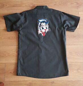 STRAY CATS Head logo black workshirt size Medium M -NEW Rockabilly Dickies shirt