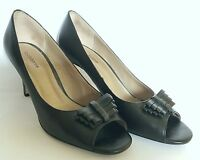 Liz Claiborne Ashley Size 9.5 Black Leather Open Toe Heels Pumps Shoes Peep Toe