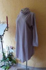 BORIS INDUSTRIES Fleece Kleid Fransen 44 46 48 (5 NEU puder Rollkragen LAGENLOOK