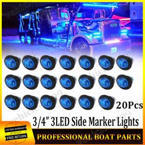 """20X Mini Round Bullet Truck Trailer LED Light Blue 3/4"""" Side Marker Lights 12V"""